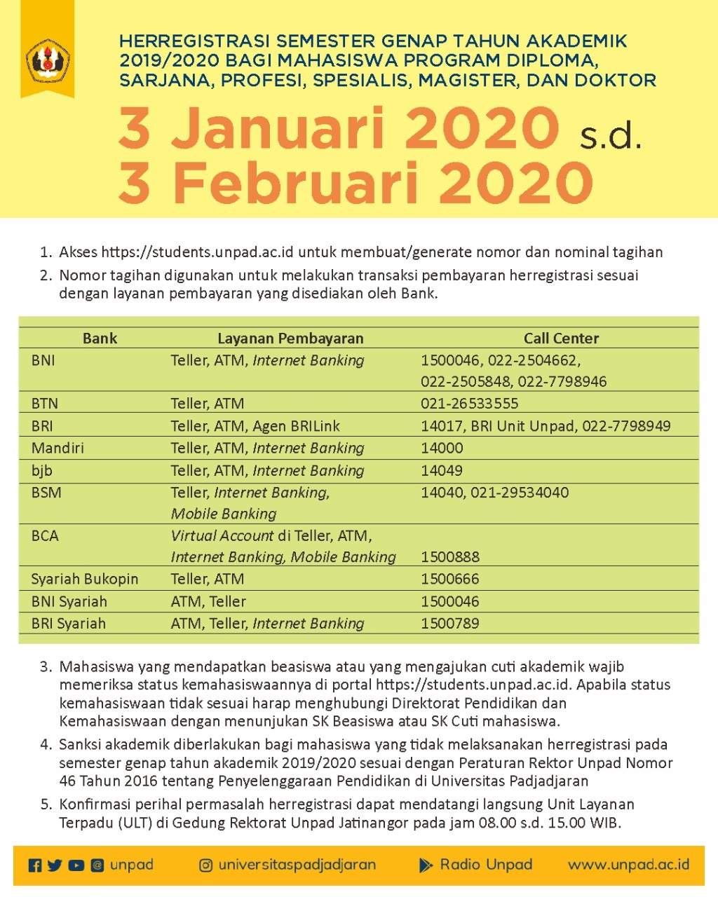 Jadwal Herregistrasi  Semester Genap  2019/2020