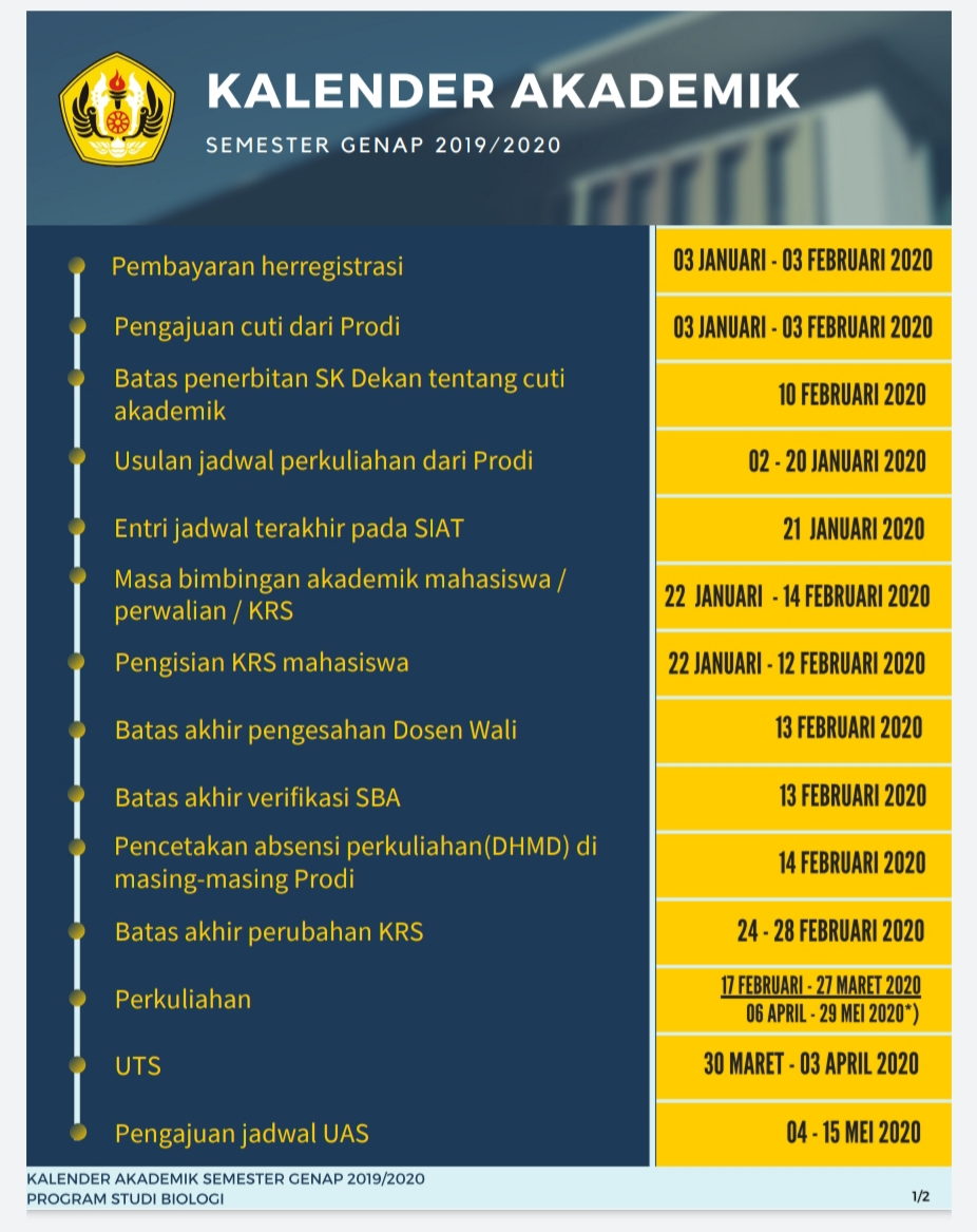 Kalender Akademik  Semester  Genap 2019/2020